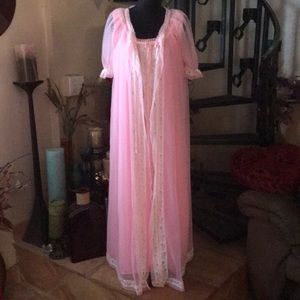 Other - SOLD Vintage Pink Chiffon Nightgown & Robe Set